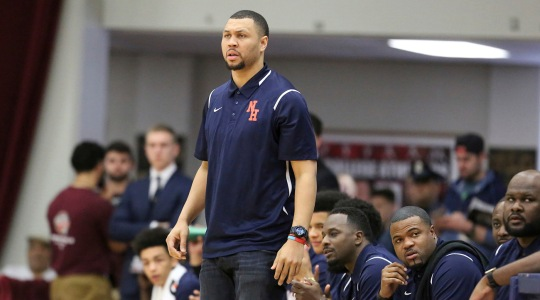 Nathan Hale's head coach Brandon Roy is seen on the sidelines against Oak Hill Academy during a high school basketball game at the 2017 Hoophall Classic on Monday, January 16, 2017, in Springfield, MA. (AP Photo/Gregory Payan)